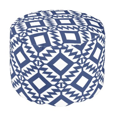 Aztec Themed Tribal blue and white geometric pouf
