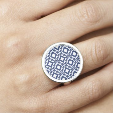 Aztec Themed Tribal blue and white geometric rings