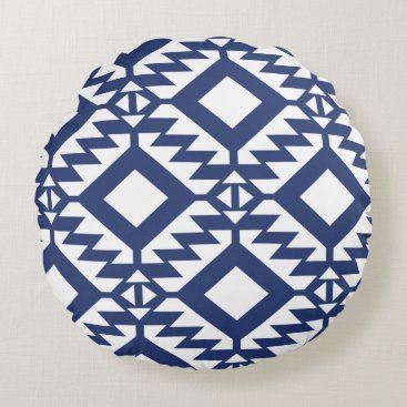 Aztec Themed Tribal blue and white geometric round pillow