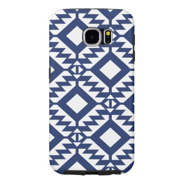Aztec Themed Tribal blue and white geometric samsung galaxy s6 case