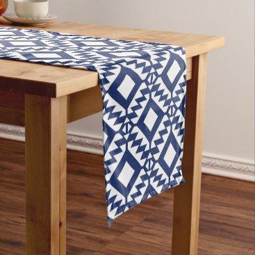 Aztec Themed Tribal blue and white geometric short table runner