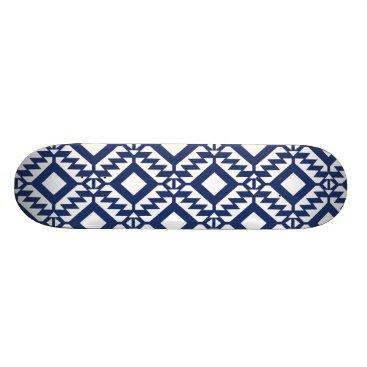 Tribal blue and white geometric skateboard
