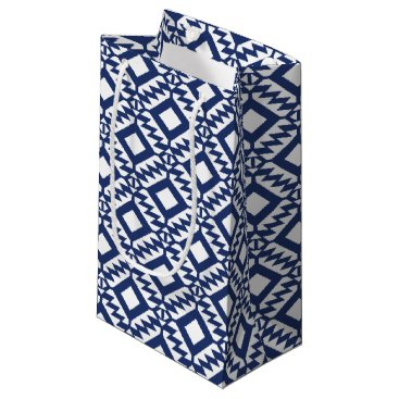 Aztec Themed Tribal blue and white geometric small gift bag