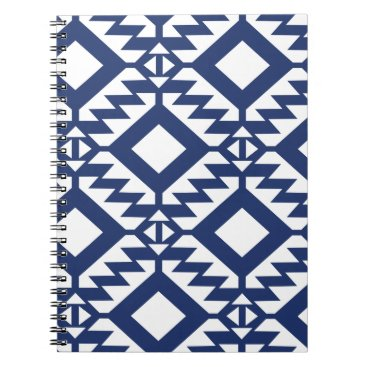 Aztec Themed Tribal blue and white geometric spiral notebook