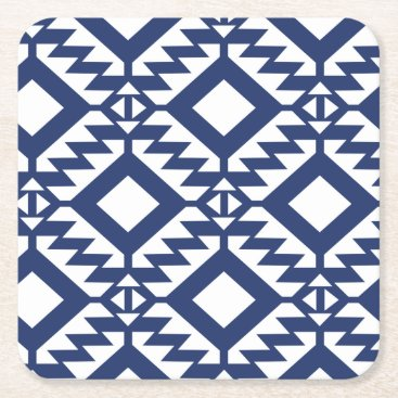 Aztec Themed Tribal blue and white geometric square paper coaster