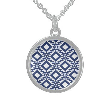 Aztec Themed Tribal blue and white geometric sterling silver necklace