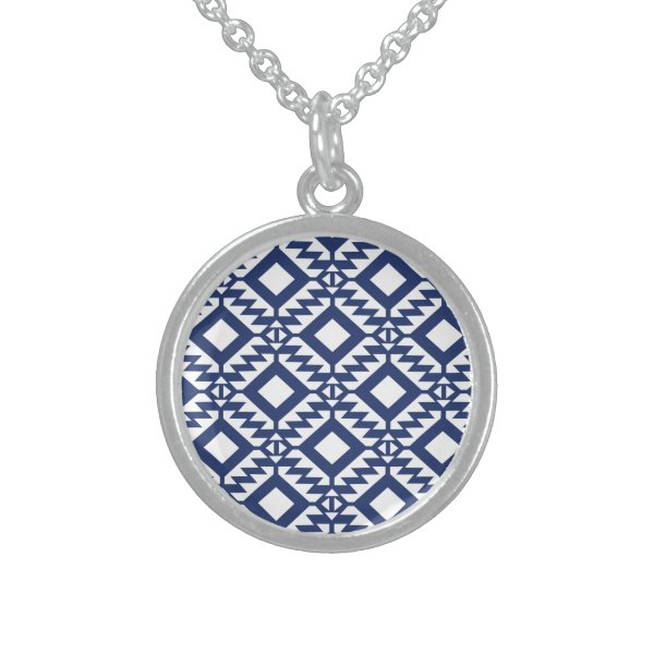 Tribal blue and white geometric sterling silver necklace