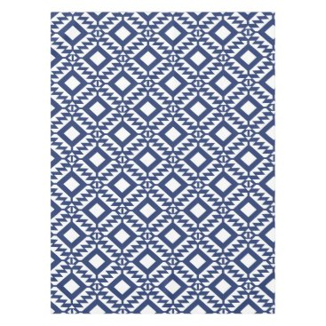 Aztec Themed Tribal blue and white geometric tablecloth