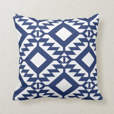 Aztec Themed Tribal blue and white geometric throw pillow