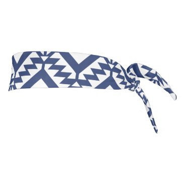 Aztec Themed Tribal blue and white geometric tie headband