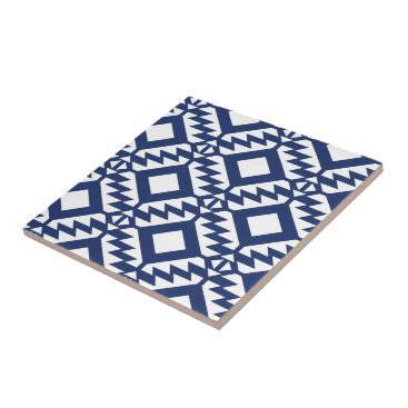 Aztec Themed Tribal blue and white geometric tile
