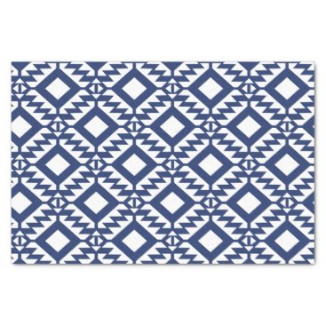 Aztec Themed Tribal blue and white geometric tissue paper