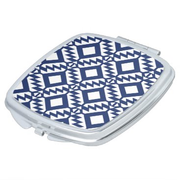 Aztec Themed Tribal blue and white geometric vanity mirror