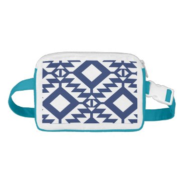 Aztec Themed Tribal blue and white geometric waist bag