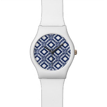 Aztec Themed Tribal blue and white geometric watch