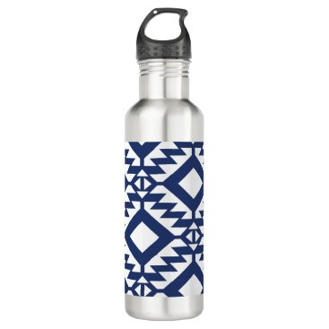 Aztec Themed Tribal blue and white geometric water bottle