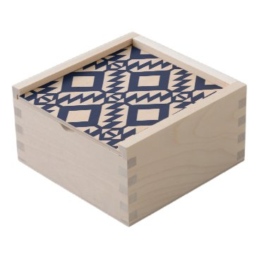 Aztec Themed Tribal blue and white geometric wooden keepsake box