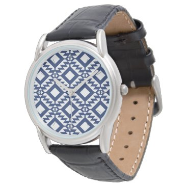 Aztec Themed Tribal blue and white geometric wrist watch