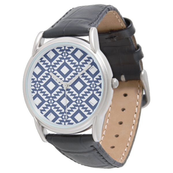 Tribal blue and white geometric wrist watch