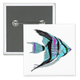 Tribal Blue Angelfish Button