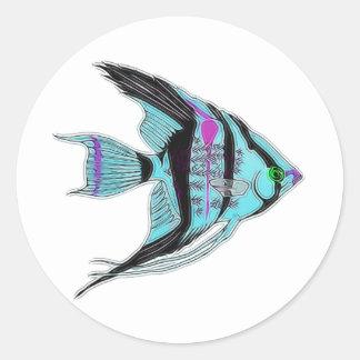Tribal Blue Angelfish Classic Round Sticker