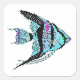 Tribal Blue Angelfish Square Sticker