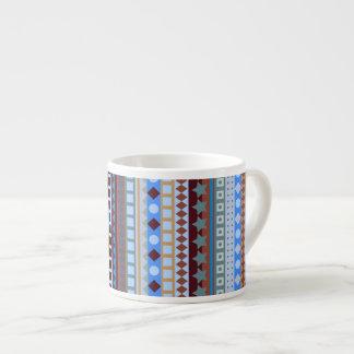 Tribal Blue Aztec ZigZag Southwestern Stripes Espresso Cup