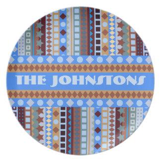 Tribal Blue Aztec ZigZag Southwestern Stripes Melamine Plate