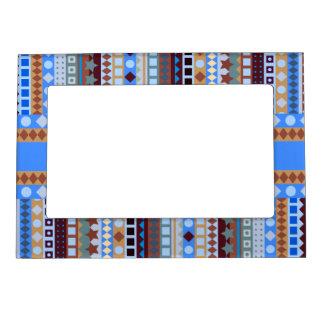 Tribal Blue Aztec ZigZag Southwestern Stripes Picture Frame Magnets