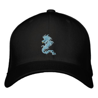 tribal blue dragon embroidered baseball cap