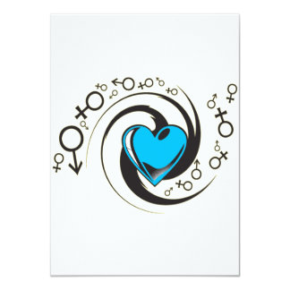 Tribal Blue Heart and Symbols Card