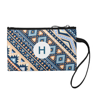 Tribal blue retro Ethnic vintage pattern Wristlet