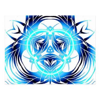 tribal blue warped postcard