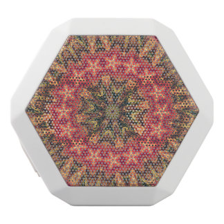 TRIBAL BOHEMIAN KALEIDOSCOPIC GEOMETRIC MANDALA WHITE BLUETOOTH SPEAKER
