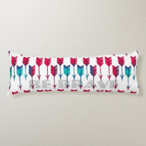 Tribal Boho Arrows Red Turquoise Feather Bohemian Body Pillow