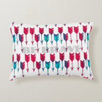 Tribal Boho Arrows Red Turquoise Feather Bohemian Decorative Pillow