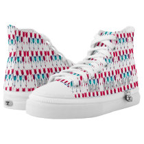 Tribal Boho Arrows Red Turquoise Feather Bohemian High-Top Sneakers