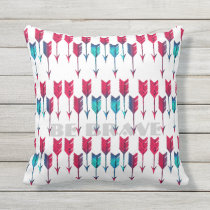Tribal Boho Arrows Red Turquoise Feather Bohemian Outdoor Pillow