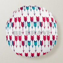 Tribal Boho Arrows Red Turquoise Feather Bohemian Round Pillow