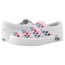 Tribal Boho Arrows Red Turquoise Feather Bohemian Slip-On Sneakers