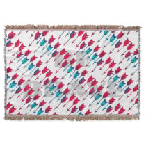 Tribal Boho Arrows Red Turquoise Feather Bohemian Throw Blanket