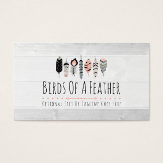 Tribal Boho Chic Bird Feathers in Blush Pink Business Card