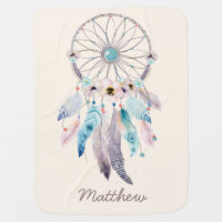 Tribal Boho Dream Catcher Fleece Baby Blanket