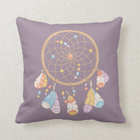 Tribal Boho Dreamcatcher on Purple Throw Pillow