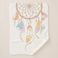 Tribal Boho Dreamcatcher Sherpa Blanket