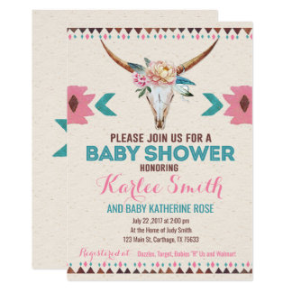 Tribal Boho Floral Baby Shower Invitation