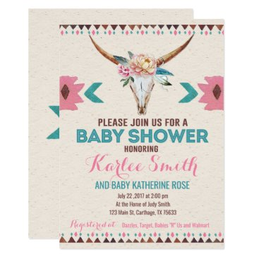 Aztec Themed Tribal Boho Floral Baby Shower Invitation