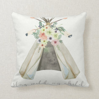 Tribal Boho Floral Teepee Stay Wild Child Pillow