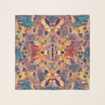 """Tribal Boho Hippie Purple Yellow Blue Pattern Scarf<br><div class=""""desc"""">Tribal print boho hippie purple yellow blue chiffon scarf. Mirrored image. Chic,  trendy,  awesome,  modern native ethnic. One-of-a-kind pattern design. Look for matching products in my store collection. Image copyright Marg Seregelyi Photography.</div>"""