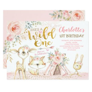Tribal Boho Woodland Animals Wild One 1st Birthday Invitation